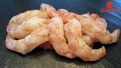 A photograph of Argentine red shrimp peeled and deveined (P&D).