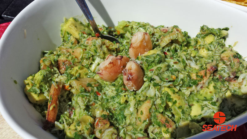 A photograph of Chilean crab meat avocado dip.