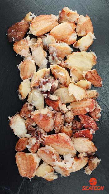 A photograph of cooked Chilean crab claw meat.