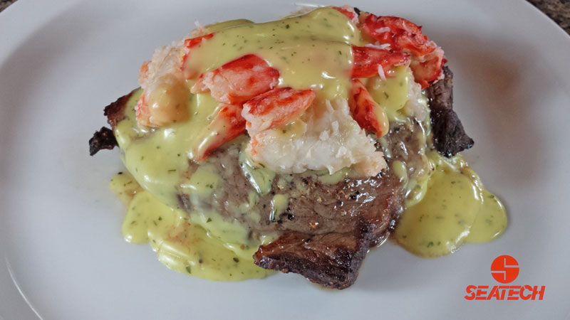 A photograph of Chilean king crab steak oscar.