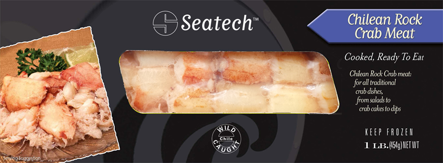 Seatech Chilean Rock Crab Meat one pound pack great for all recipes that require crab meat. www.seatechcorp.com