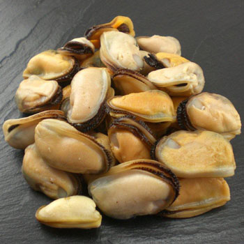 A photograph of Seatech's Cooked Chilean Mussel Meat www.seatechcorp.com.
